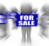 Characters Holding For Sale Signs Displays On Sale Goods — Stock Photo
