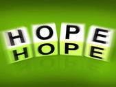 Hope Blocks Displays Wishing Hoping and Wanting — Stock Photo
