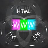 WWW On Blackboard Displays Uploading And Downloading Files — Stock Photo