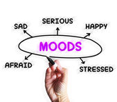 Moods Diagram Displays Happy Sad And Feelings — Stock Photo
