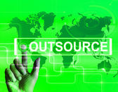 Outsource Karte zeigt internationale Zuliefermesse oder Outsourci — Stockfoto