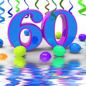 Number Sixty Party Displays Garland Decoration Or Bright Balloon — Stock Photo