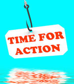 Time For Action On Hook Displays Encouragement And Great Inspira — Stock Photo