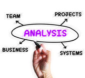 Analysis Diagram Displays Examining Projects And Systems — Stock Photo