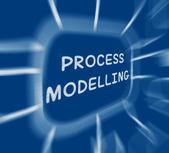 Process Modelling Diagram Displays Representing Business Process — Foto Stock