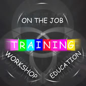 Training Displays on the Job or Educational Workshop Words — Stock Photo