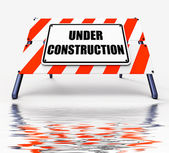Under Construction Sign Displays Partially Insufficient Construc — Stock Photo