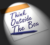 Think Outside The Box Notebook Displays Creativity Or Brainstorm — Stock Photo