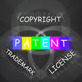 Patent Copyright License and Trademark Displays Intellectual Pro — Stock Photo