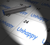 Unhappy Calendar Displays Problems Stress Or Sadness — Stock Photo