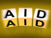 Aid Blocks Displays Assistance Help and Support — Stock Photo