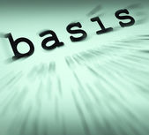 Basis Definition Displays Principles And Essential Ideas — Stock Photo