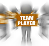 Characters Holding Team Player Signs Displays Teamwork Or Teamma — Stock Photo