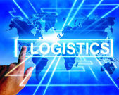 Logistics Map Displays Logistical Coordination and International — Stock Photo