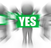 Characters Holding No Yes Signs Displays Uncertain Or Confused — Stock Photo