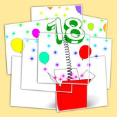 Number Eighteen Surprise Box Displays Party Decorations And Spar — Stock Photo