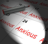 Anxious Calendar Displays Worried Tense And Uneasy — 图库照片