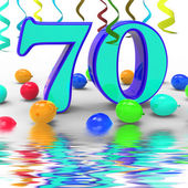 Number Seventy Party Displays Surprise Birthday Party Or Special — Stock Photo
