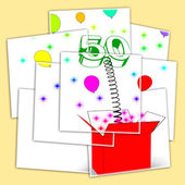 Number Fifty Surprise Box Displays Fiftieth Birthday Or Birth An — Stock Photo