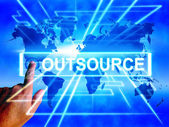 Outsource Map Displays Worldwide Subcontracting or Outsourcing — Zdjęcie stockowe