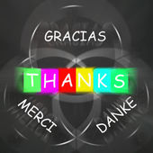 Gracias Merci and Danke Displays Thanks in Foreign Languages — Stock Photo