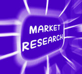 Market Research Diagram Displays Researching Consumer Demand And — Stock Photo