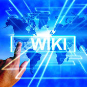 Wiki Map Displays Internet Education and Encyclopaedia Websites — Stock Photo