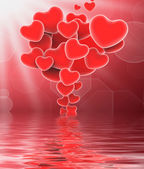 Bunch Of Hearts Displays Sweet Love Or Romantic Couple — Stock Photo