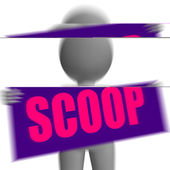 Scoop Sign Character Displays Gossipmonger Or Intimate Tatter — Stock Photo