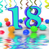 Number Eighteen Party Displays Colourful Teen Celebration Or Eve — Stock Photo