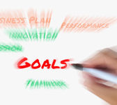 Goals on Whiteboard Displays Targets Aims and Objectives — Foto de Stock