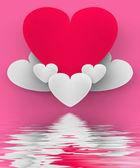Heart On Heart Clouds Displays Romantic Heaven Or In Love Sensat — Stock Photo