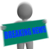 Breaking News Sign Character Displays News Update — Stock Photo
