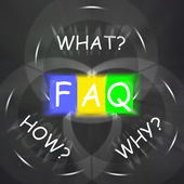 FAQ On Blackboard Displays Frequently Asked Questions Or Assista — Stock Photo