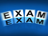 Exam Blocks Displays Examination Review and Assessment — Stock Photo