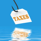 Taxes On Hook Displays Taxation Or Legal Fees — Stock Photo