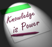 Knowledge Is Power Notebook Displays Successful Intellect And Me — Stock Photo