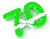 用丝带七十数字显示生日祝贺或 — 图库照片