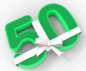 Number Fifty With Ribbon Displays Fiftieth Birthday Celebration  — ストック写真