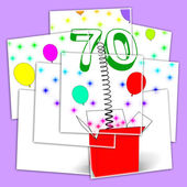 Number Seventy Surprise Box Displays Sparkling Balloons And Conf — Stock Photo