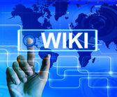 Wiki Map Displays Internet Information and Encyclopaedia Website — Stock Photo