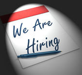 We Are Hiring Notebook Displays Employment Recruitment Or Person — Stock Photo