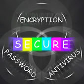Antivirus Encryption and Password Displays Secure Internet — Stock Photo