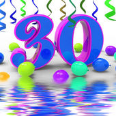 Number Thirty Party Displays Decorated Party Or Colourful Garlan — Stock Photo