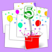 Number Five Surprise Box Displays Surprise Party Or Festivity — Stock Photo