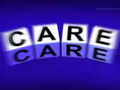 Care Blocks Displays Concern And Caring For — Stock Photo
