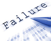 Failure Word Displays Inept Unsuccessful Or Lacking — Stock Photo