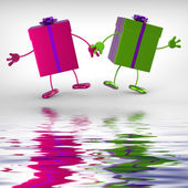 Presents Displays Receiving And Unwrapping Xmas Or Birthday Gift — Stock Photo