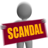Scandal Sign Character Displays Publicized Incident Or Uncovered — Stock Photo