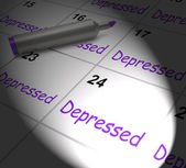 Depressed Calendar Displays Discouraged Despondent Or Mentally I — Stock Photo
